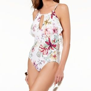 Carmen Marc Valvo High Neck Ruffle One Piece 6